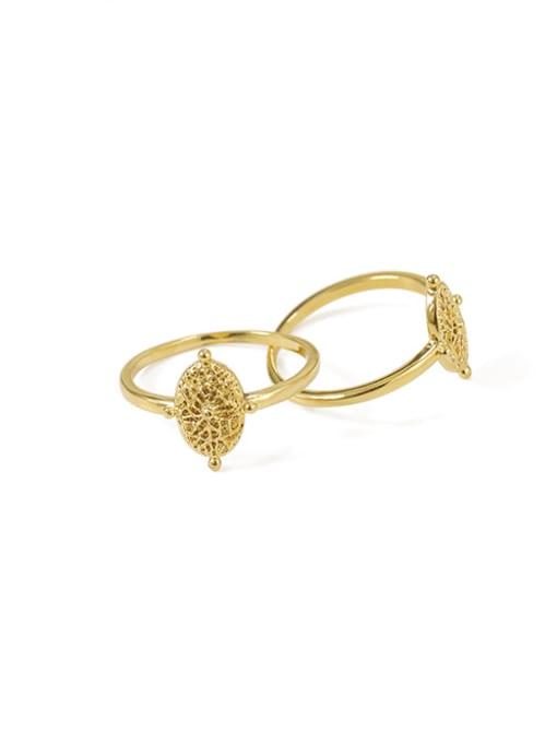 ACCA Brass Geometric Vintage Retro wild leaf pattern Band Ring 0