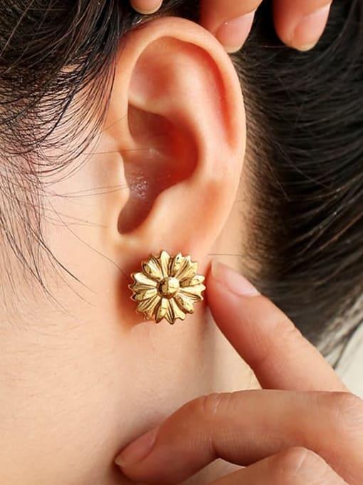 Five Color Titanium Steel Flower Hip Hop Stud Earring 2