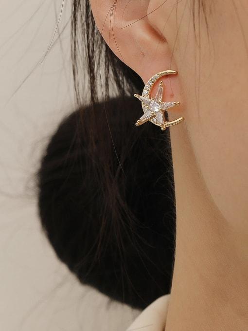 HYACINTH Brass Cubic Zirconia Moon Minimalist Stud Earring 1