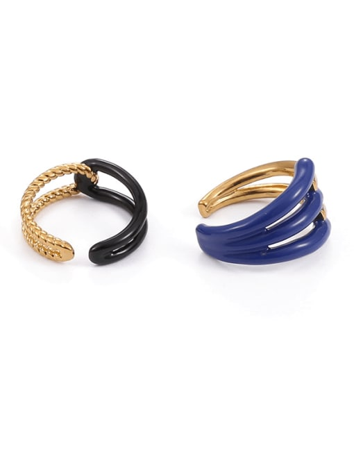 Five Color Brass Enamel Geometric Minimalist Band Ring 2