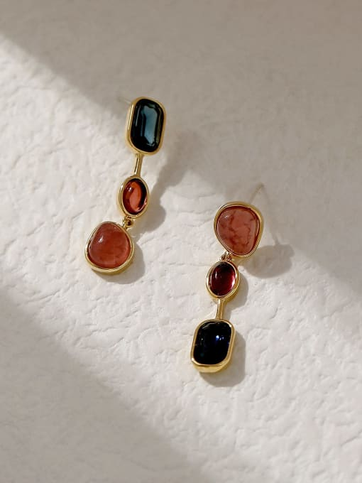 14k Gold Brass Glass Stone Geometric Vintage Drop Trend Korean Fashion Earring