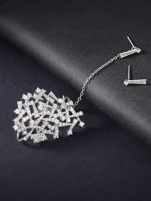 platinum Brass Cubic Zirconia Geometric Minimalist Drop Earring