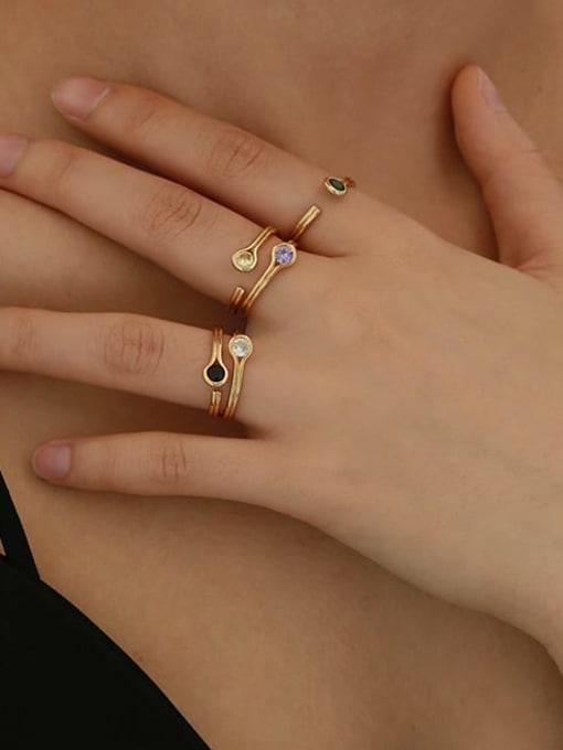 Five Color Brass Rhinestone Rainbow Minimalist Band Ring 1