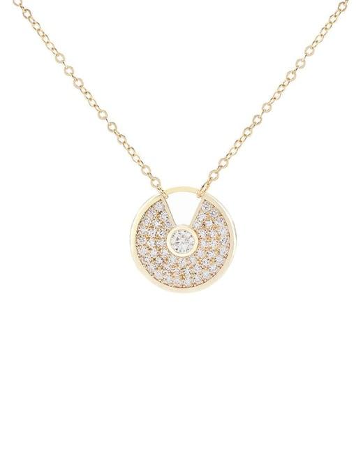 YILLIN Brass Cubic Zirconia Geometric Minimalist Necklace