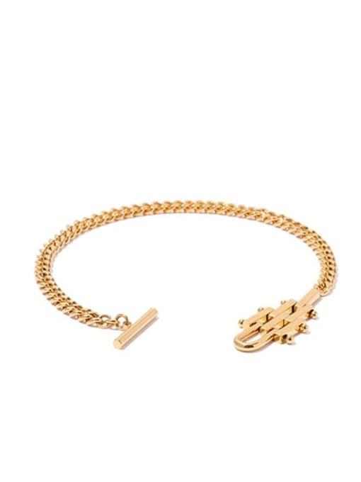 golden Brass Geometric Hip Hop Link Bracelet