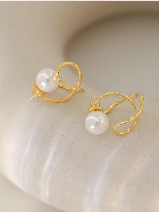 Five Color Brass Imitation Pearl Irregular Minimalist Stud Earring 0