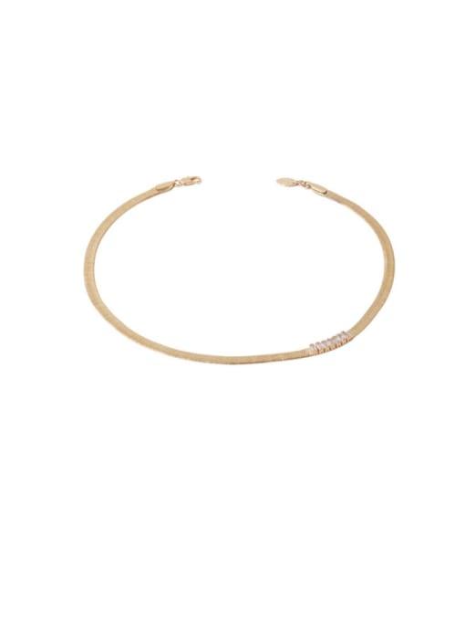 golden Brass Cubic Zirconia Geometric Minimalist Necklace