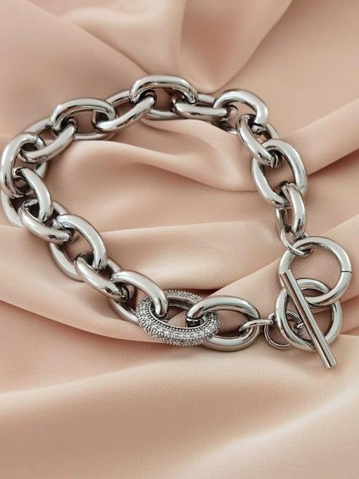 White K Brass Geometric Chain Minimalist Link Bracelet