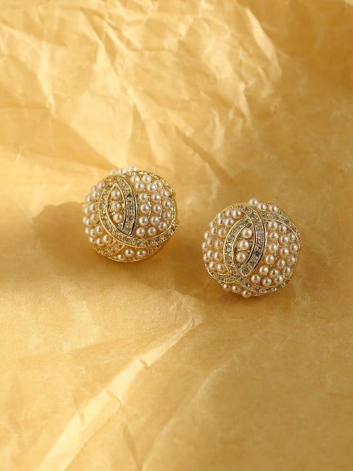 HYACINTH Brass Imitation Pearl Geometric Vintage Stud Earring