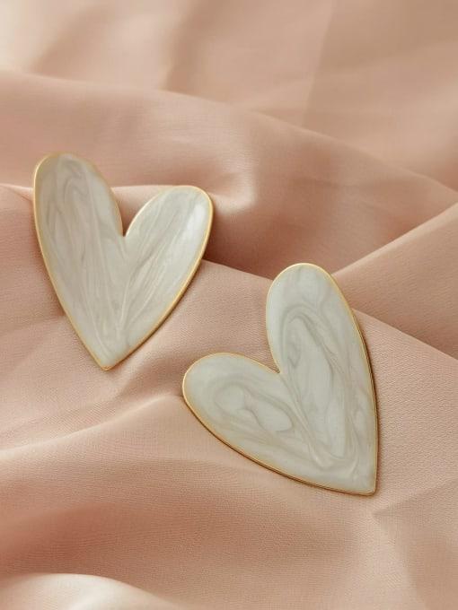 14k gold+white Brass Enamel Heart Minimalist Stud Earring