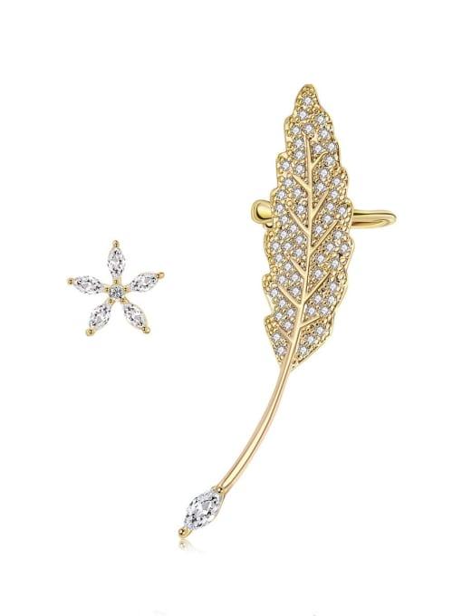 Asymmetric ear bone clip and ear nail Brass Cubic Zirconia Asymmetric Leaf Cute Stud Earring