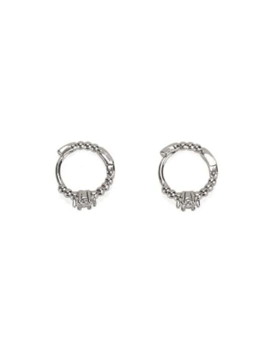 platinum Brass Cubic Zirconia Geometric Vintage Stud Earring