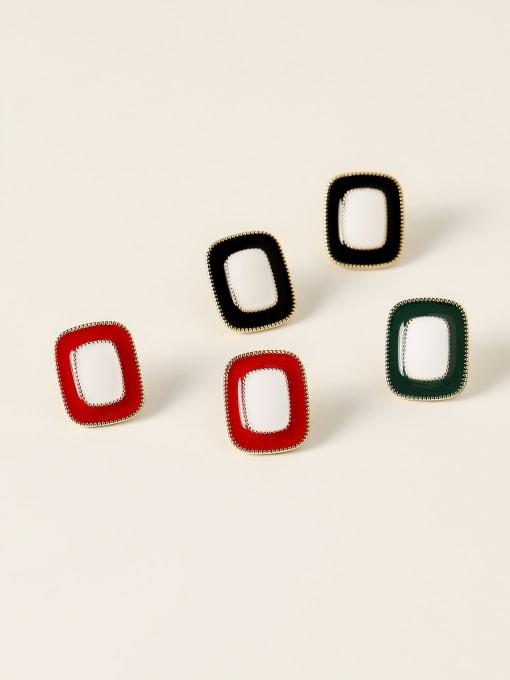 HYACINTH Brass Enamel Geometric Vintage Stud Earring