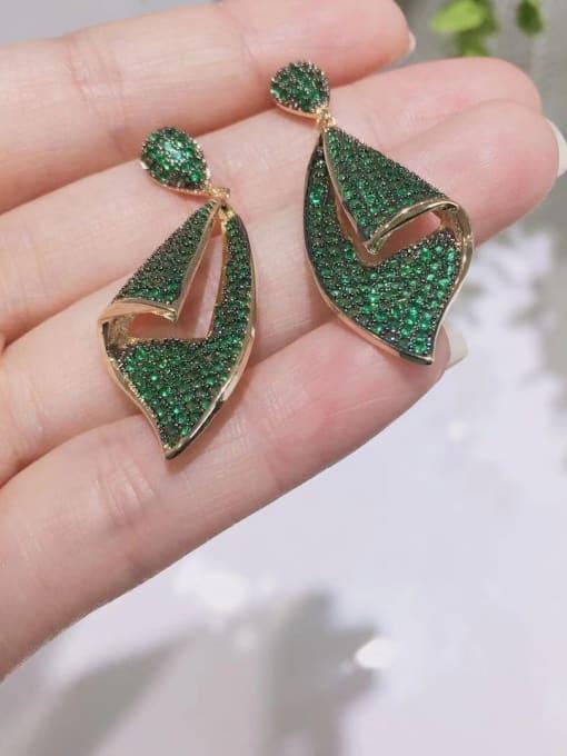 OUOU Brass Cubic Zirconia Irregular Vintage Drop Earring 2