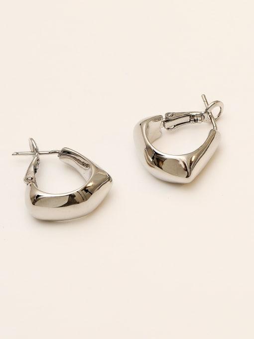 HYACINTH Brass Smooth Geometric Vintage Stud Earring 4