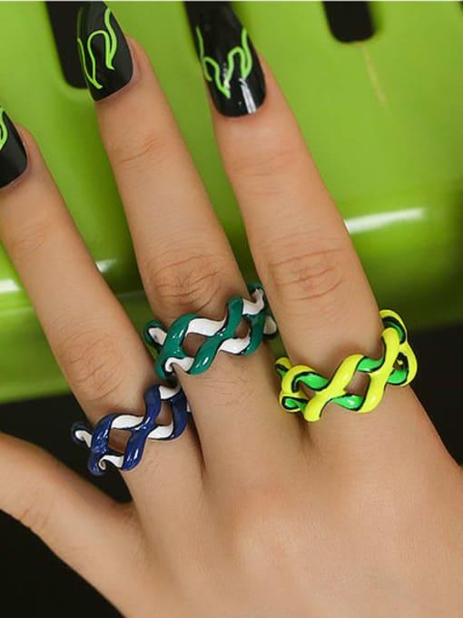 Five Color Zinc Alloy Enamel Geometric Minimalist Stackable Ring 1