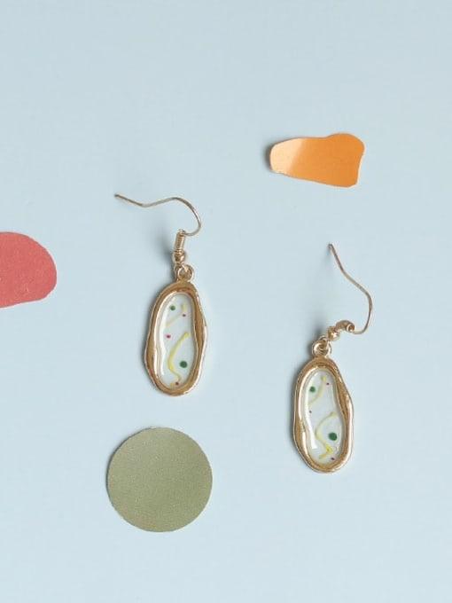 Five Color Alloy Enamel Geometric Ethnic Hook Earring 1