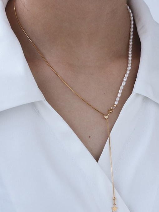 Five Color Brass Freshwater Pearl Geometric Minimalist Lariat Necklace 2