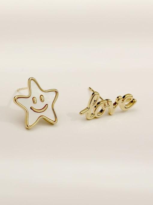 HYACINTH Brass Enamel Cute Asymmetrical star letters  Stud Earring 3