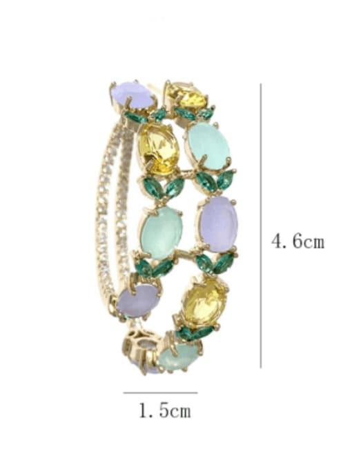 SUUTO Brass Cubic Zirconia Geometric Luxury Hoop Earring 2
