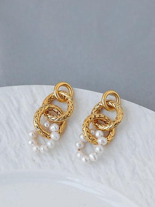 ACCA Brass Imitation Pearl Geometric Hip Hop Drop Earring 2
