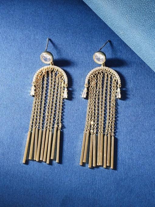 OUOU Brass Cubic Zirconia Tassel Ethnic Threader Earring 3