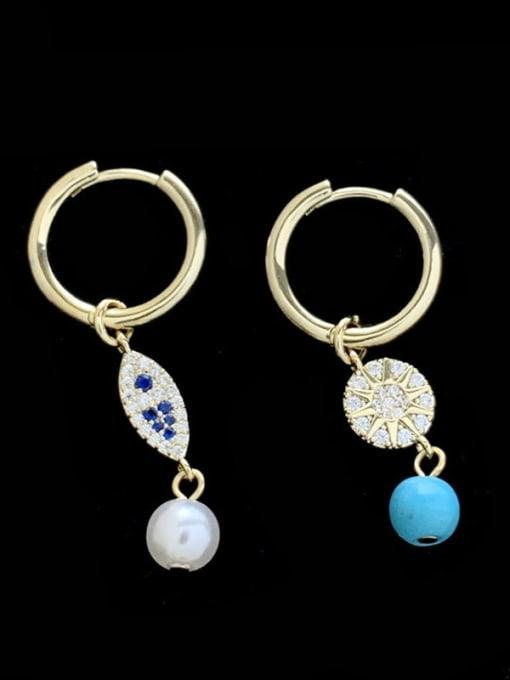 SUUTO Brass Cubic Zirconia Evil Eye Vintage Huggie Earring