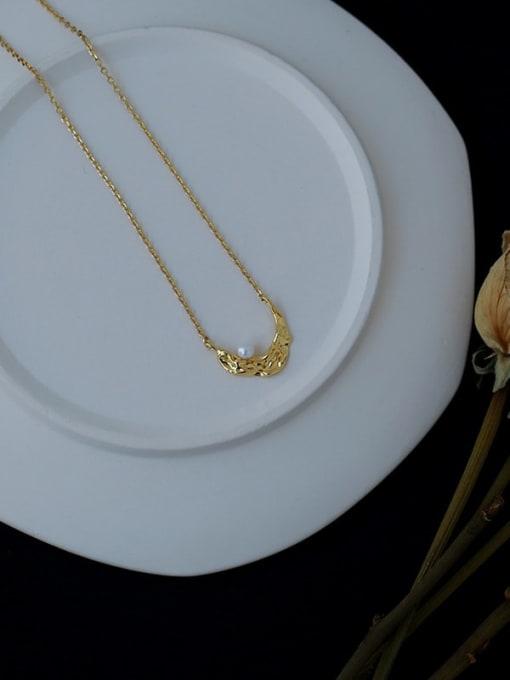 Five Color Brass Imitation Pearl Moon Vintage Necklace 3