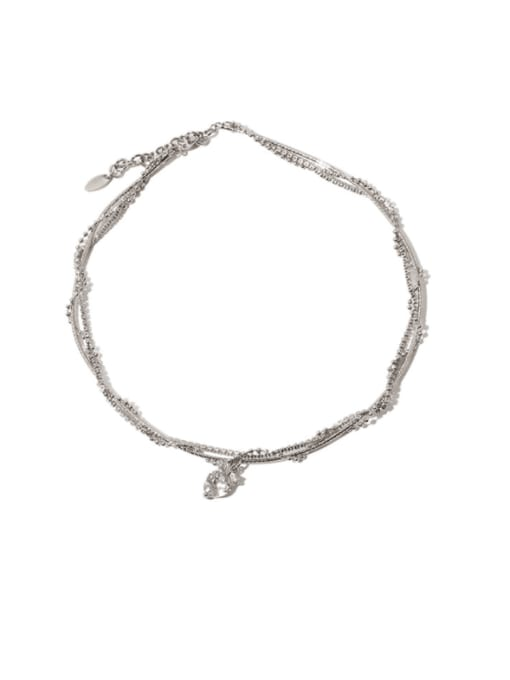 TINGS Brass Cubic Zirconia Heart Vintage Multi Strand Necklace