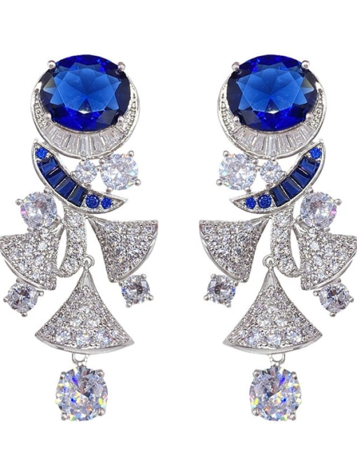 Sapphire luxury Brass Cubic Zirconia Irregular Luxury Cluster Earring