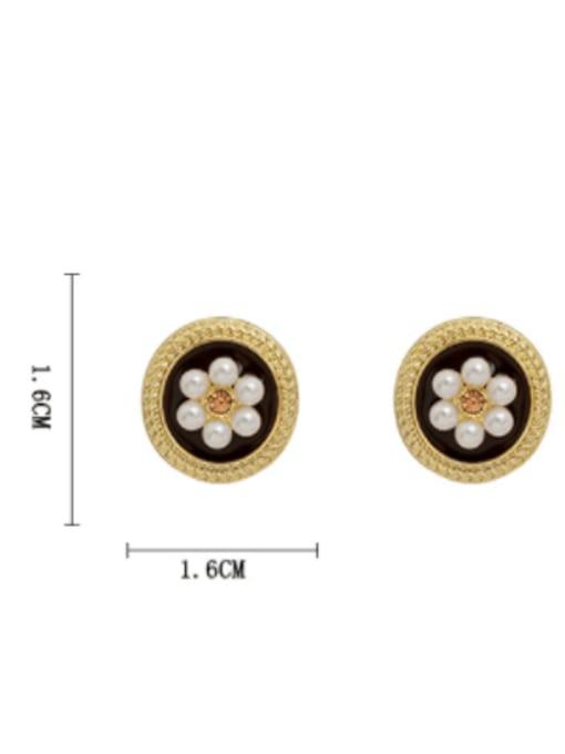 HYACINTH Brass Imitation Pearl Flower Vintage Stud Earring 3