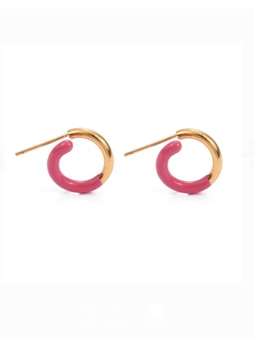 Rose red drop oil Brass Enamel Geometric Minimalist Stud Earring
