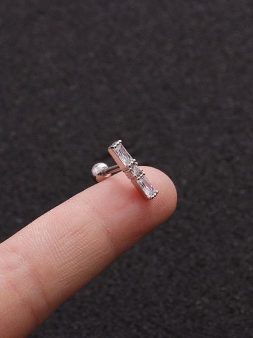 Platinum 2#(Single) Brass Cubic Zirconia Geometric Minimalist Stud Earring