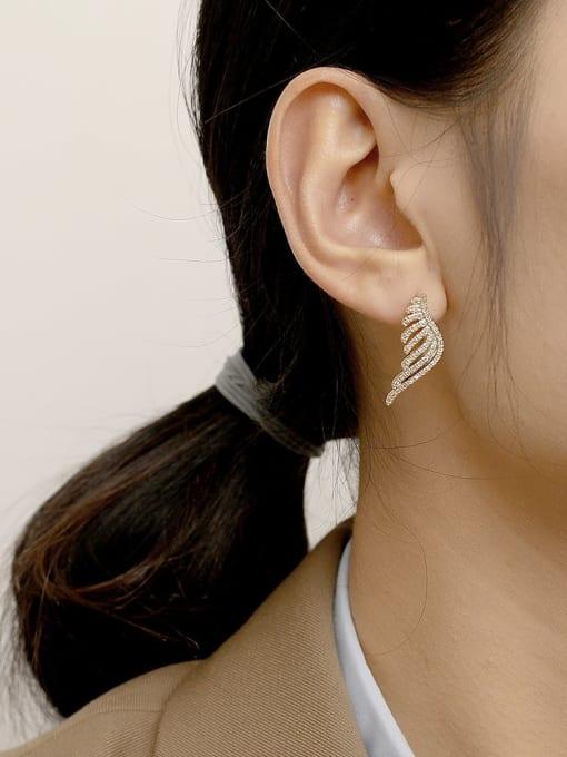 HYACINTH Brass Cubic Zirconia Wing Vintage Stud Earring 2