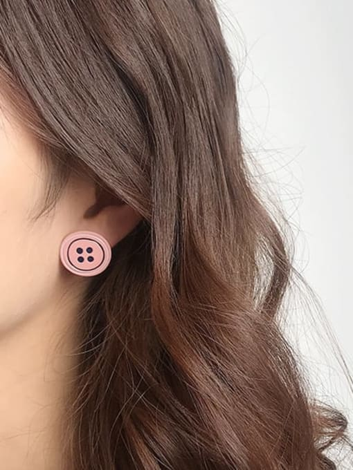 Five Color Alloy Enamel Geometric Cute  Candy color asymmetry Buttons Stud Earring 1