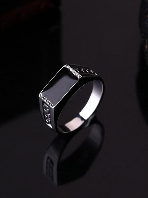 HISON Zinc Alloy Enamel Geometric Vintage Band Ring 2