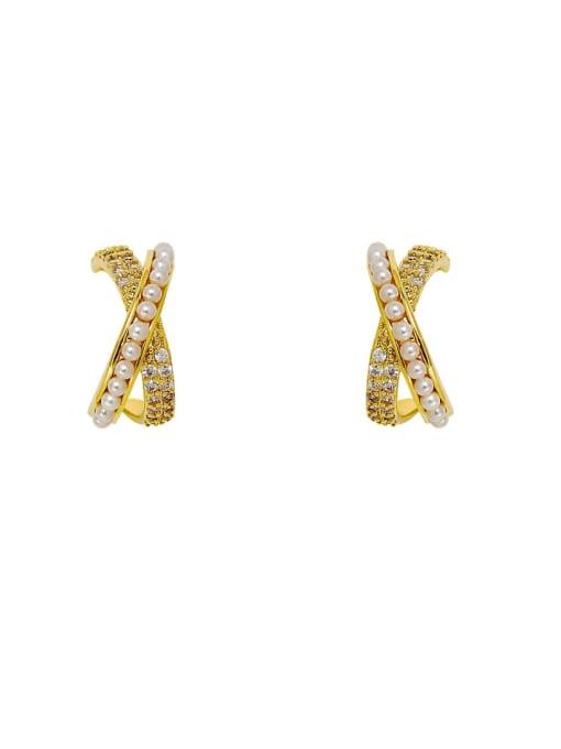 HYACINTH Brass Imitation Pearl Cross Minimalist Stud Earring 3