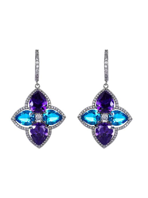 OUOU Brass Cubic Zirconia Flower Luxury Huggie Earring 0