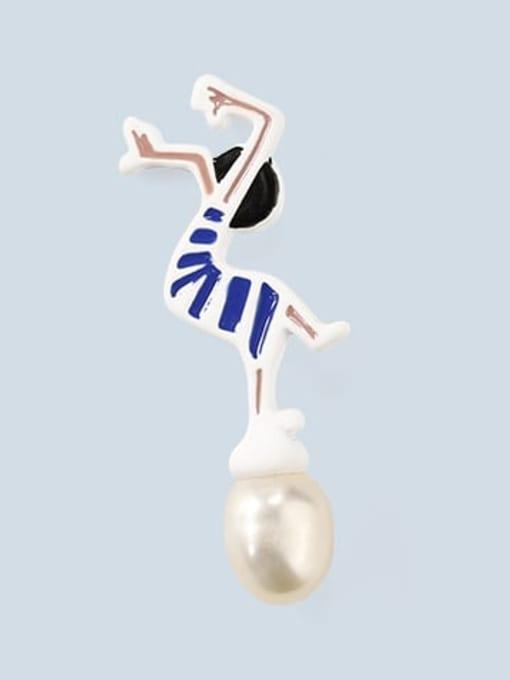 Five Color Alloy Imitation Pearl Enamel Irregular Cute Stud Earring 2