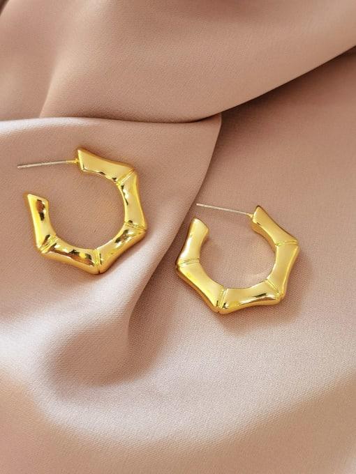 HYACINTH Brass Geometric Minimalist Stud Earring