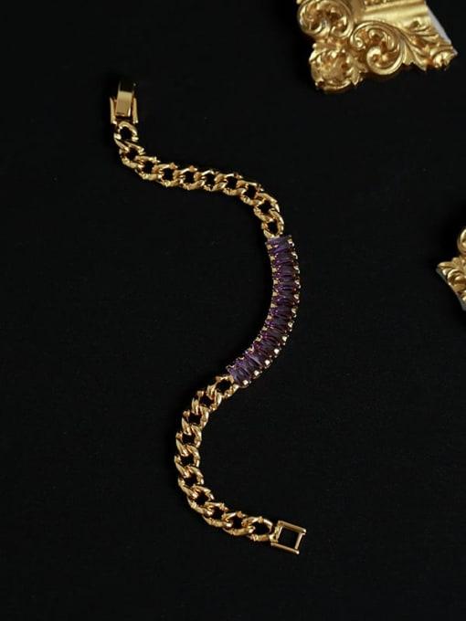 Five Color Brass Cubic Zirconia Geometric Vintage Link Bracelet 2