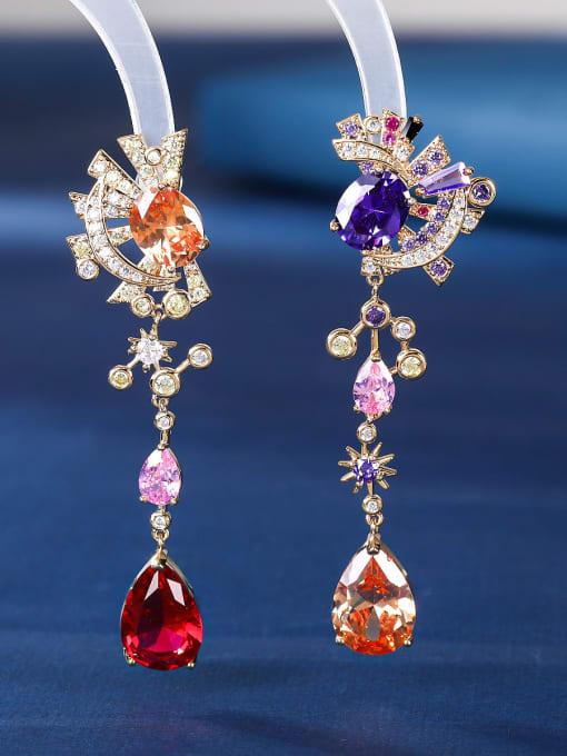 Seven color stars Brass Cubic Zirconia Star Luxury Drop Earring