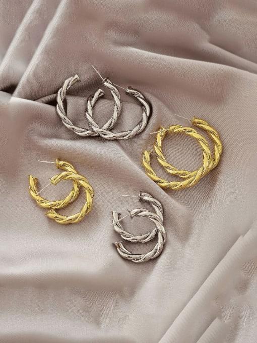 HYACINTH Brass  Twist Geometric Vintage Hoop Earring 2