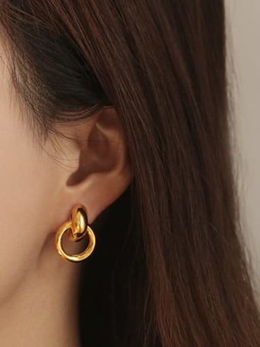 ACCA Brass Hollow Geometric Vintage Drop Earring 1