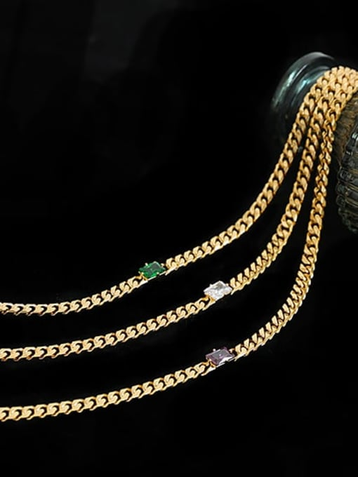 ACCA Brass Cubic Zirconia Geometric Hip Hop Necklace 3