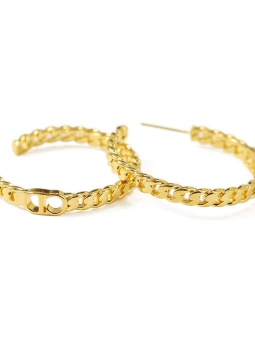 Item 4 Brass Cubic Zirconia Geometric Hip Hop Stud Earring