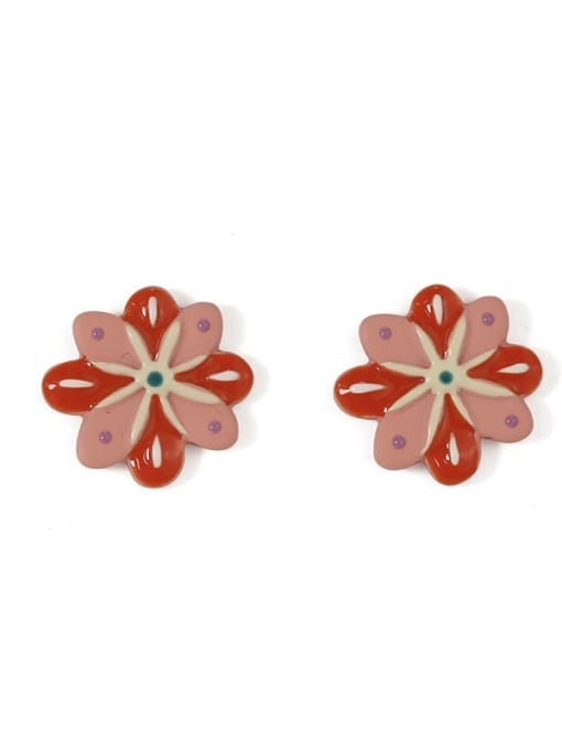 Five Color Alloy Enamel Flower Minimalist Stud Earring 3