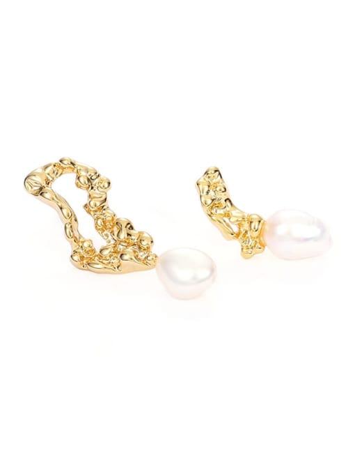 Five Color Brass Imitation Pearl Irregular Vintage Drop Earring 3