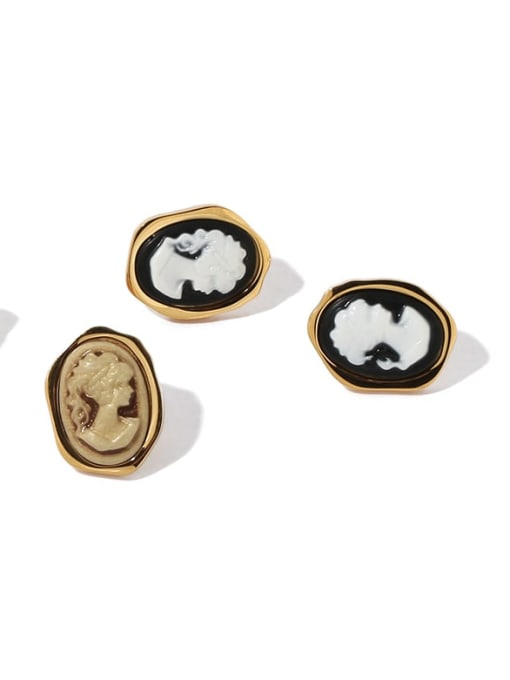 ACCA Brass Acrylic Round Vintage Stud Earring