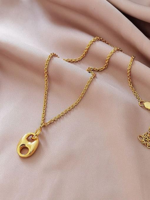18K Gold Brass Geometric Minimalist Necklace